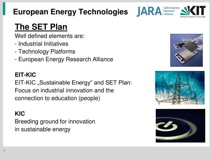 European Energy Technologies