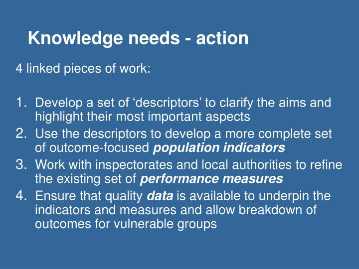 Knowledge needs - action