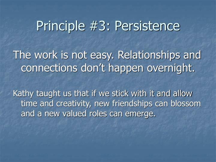 Principle #3: Persistence