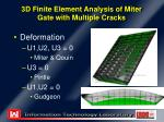 3d finite element analysis of miter gate with multiple cracks6