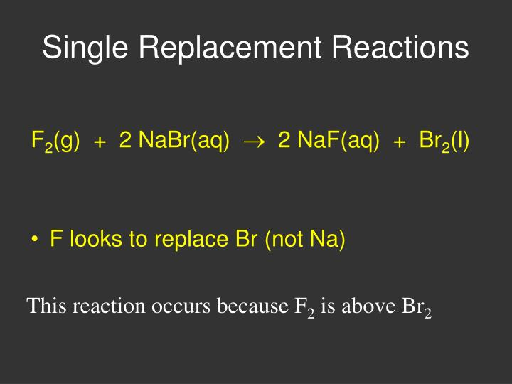 This reaction occurs because F