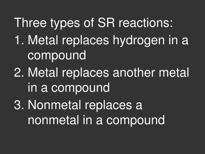 Three types of SR reactions:
