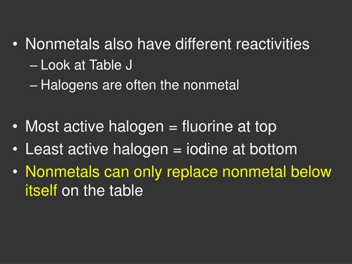 Nonmetals also have different reactivities