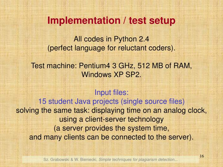 Implementation / test setup