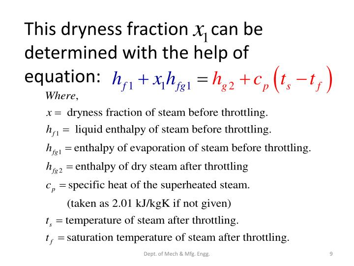 This dryness fraction     can be determined with the help of equation: