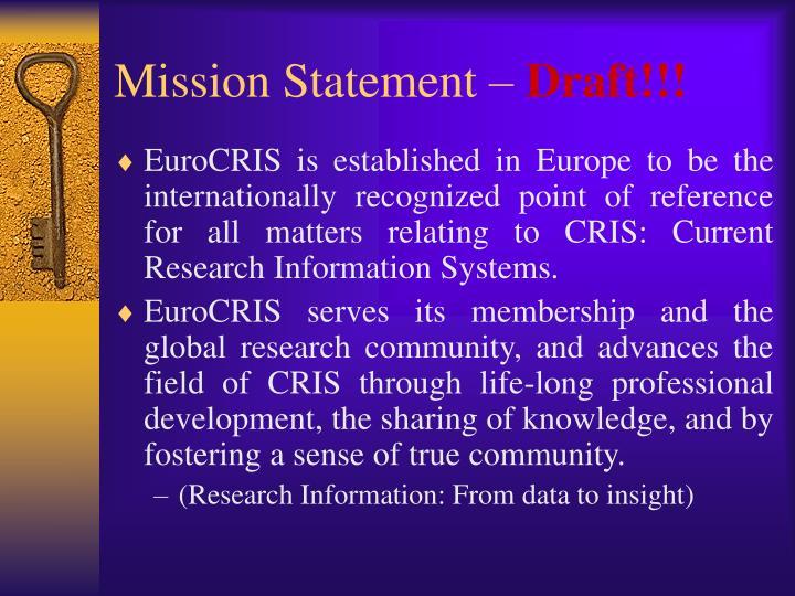 Mission Statement –