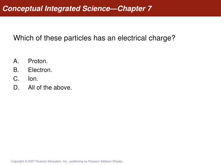 which of these particles has an electrical charge