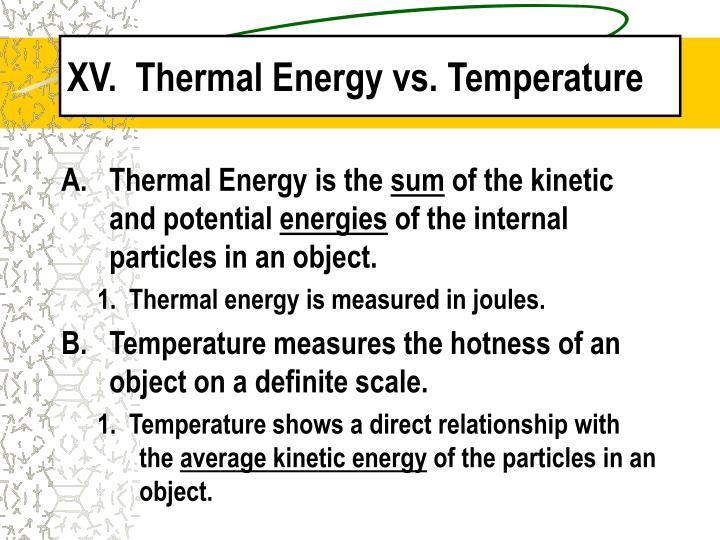 XV.  Thermal Energy vs. Temperature