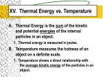 xv thermal energy vs temperature