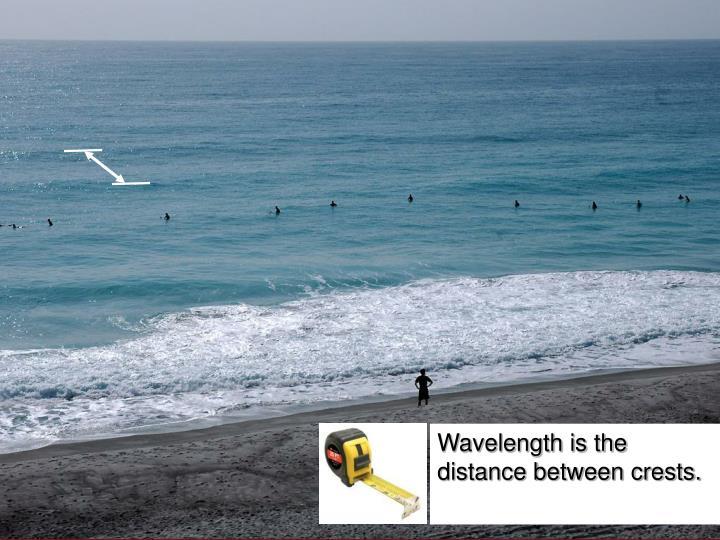 Wavelength is the distance between crests.