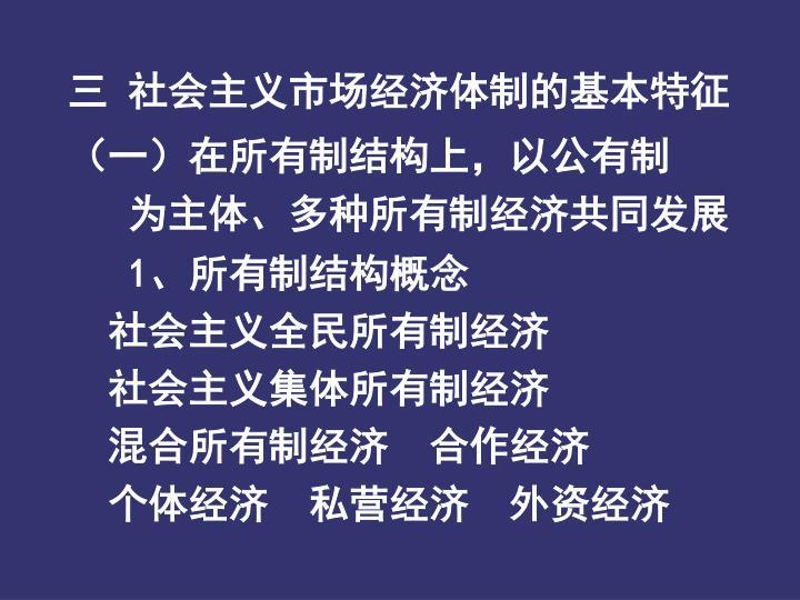 三  社会主义市场经济体制的基本特征