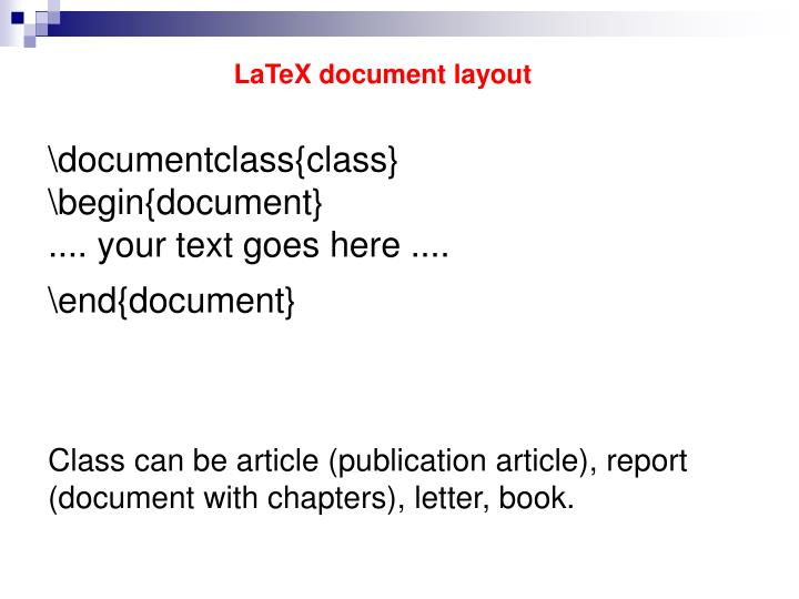 LaTeX document layout