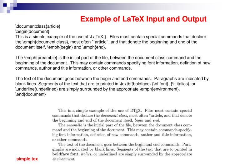 Example of LaTeX Input and Output
