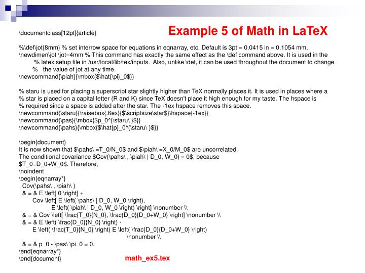 Example 5 of Math in LaTeX