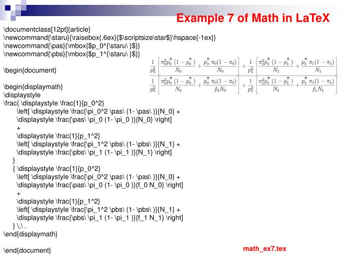 Example 7 of Math in LaTeX