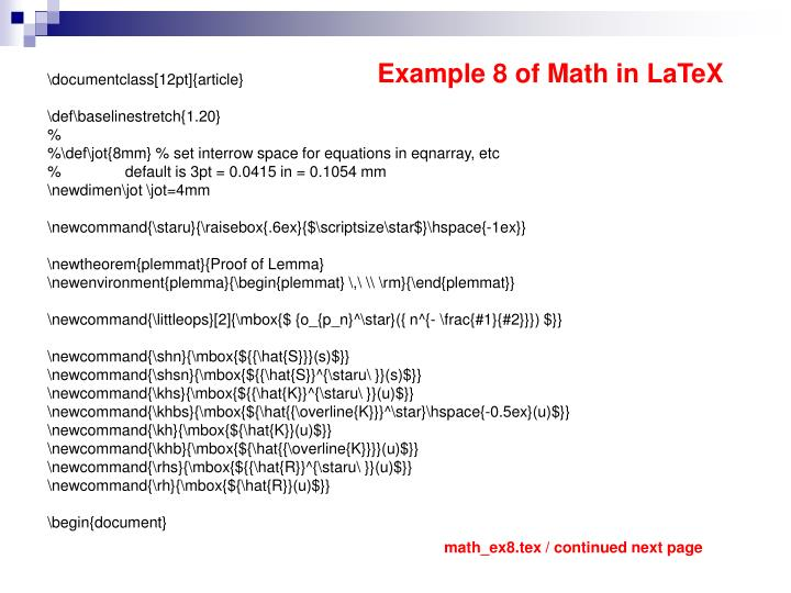 Example 8 of Math in LaTeX