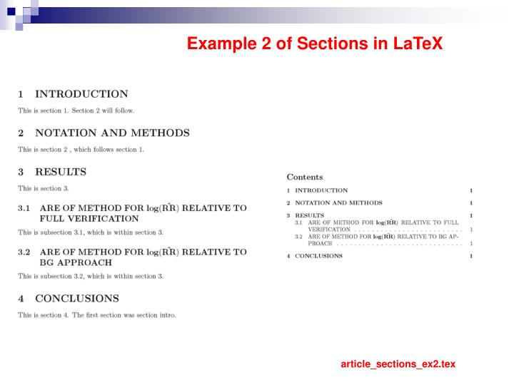 Example 2 of Sections in LaTeX
