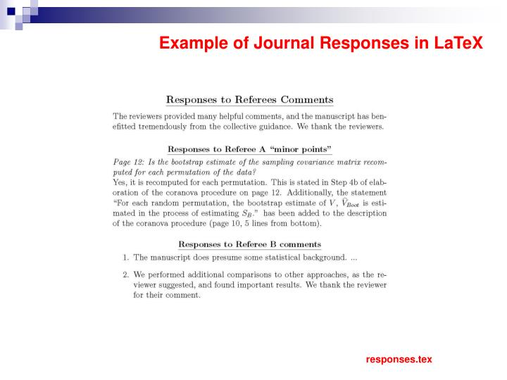 Example of Journal Responses in LaTeX