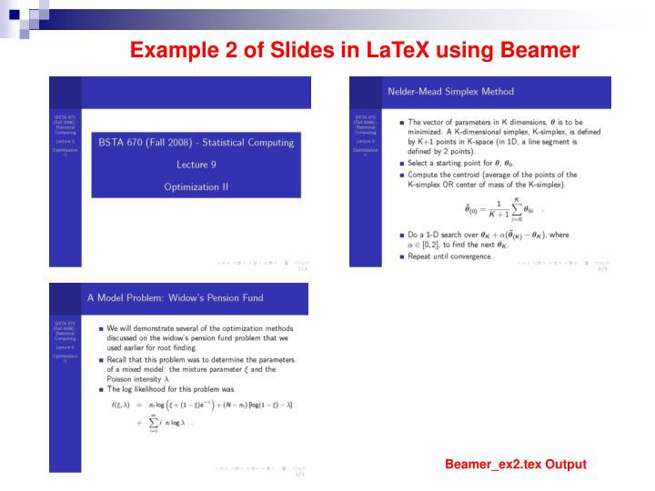 Example 2 of Slides in LaTeX using Beamer