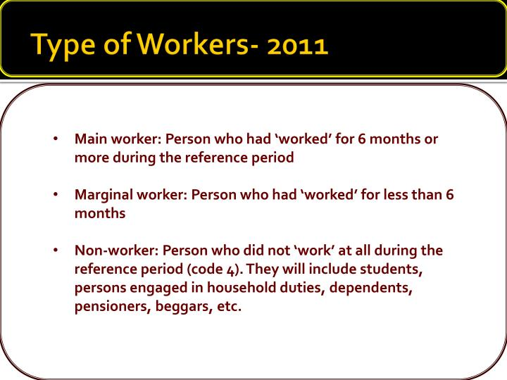 Type of Workers- 2011