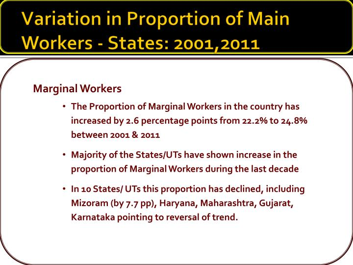 Variation in Proportion of Main Workers - States: 2001,2011