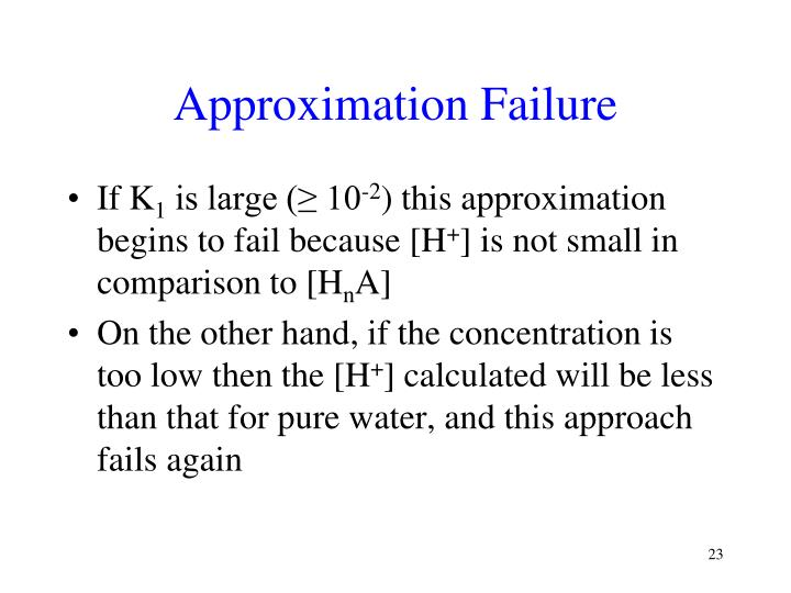 Approximation Failure