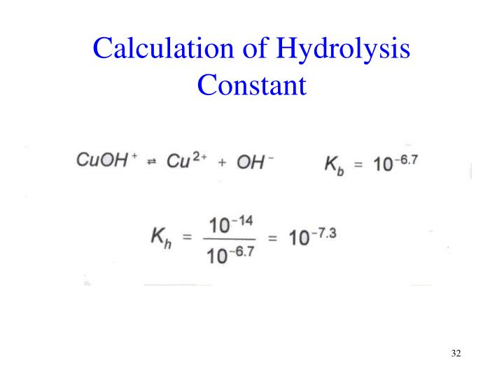 Calculation of Hydrolysis Constant