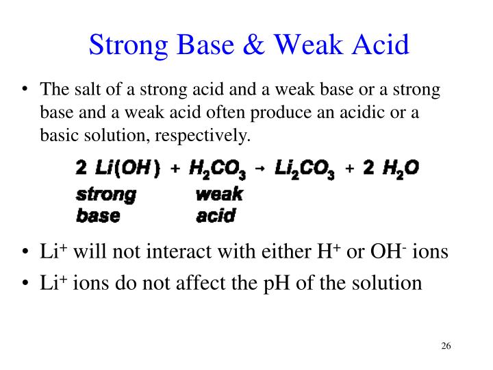 Strong Base & Weak Acid