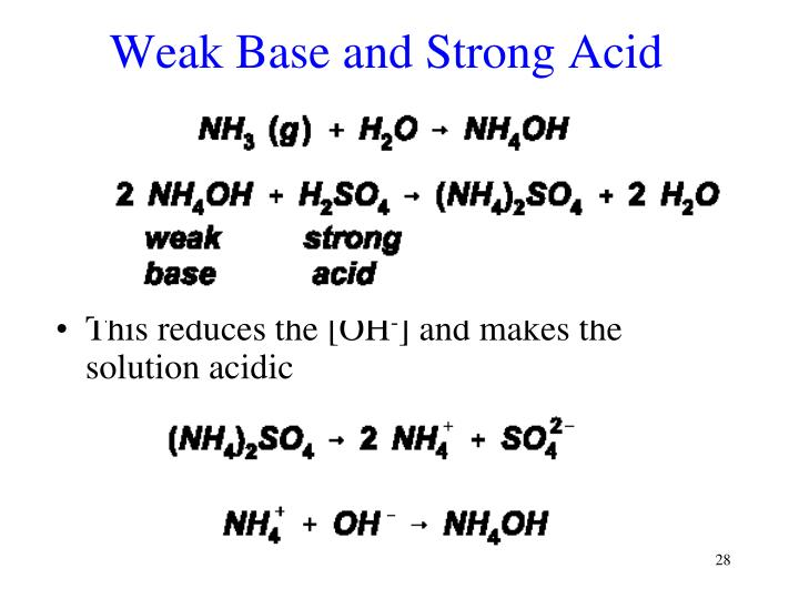 Weak Base and Strong Acid