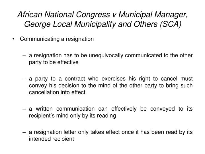 African National Congress v Municipal Manager, George Local Municipality and Others (SCA)