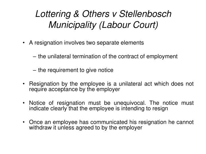 Lottering & Others v Stellenbosch Municipality (Labour Court)