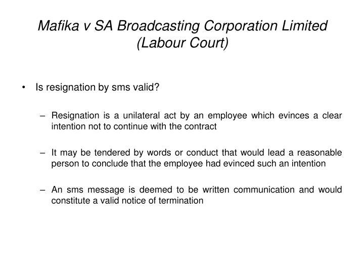 Mafika v SA Broadcasting Corporation Limited (Labour Court)