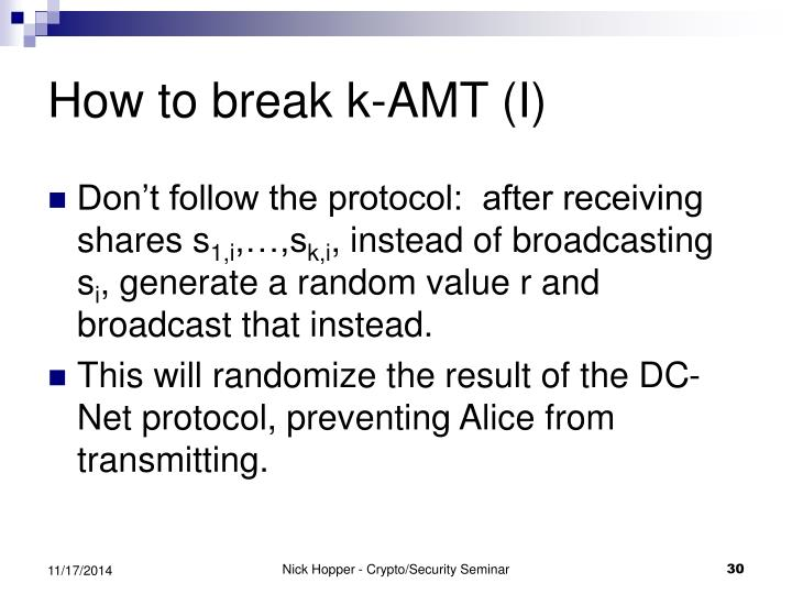 How to break k-AMT (I)
