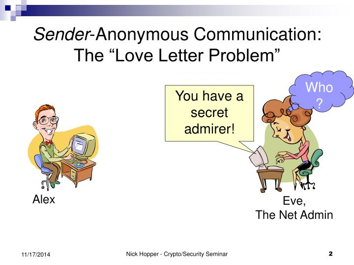 Sender anonymous communication the love letter problem