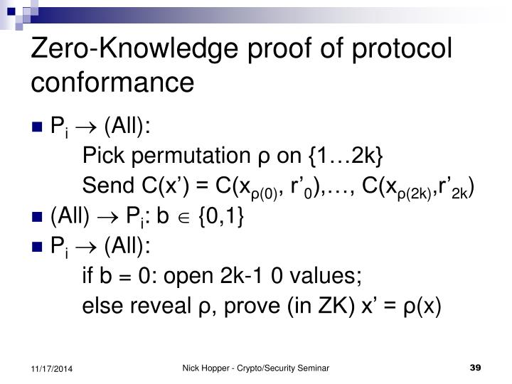 Zero-Knowledge proof of protocol conformance