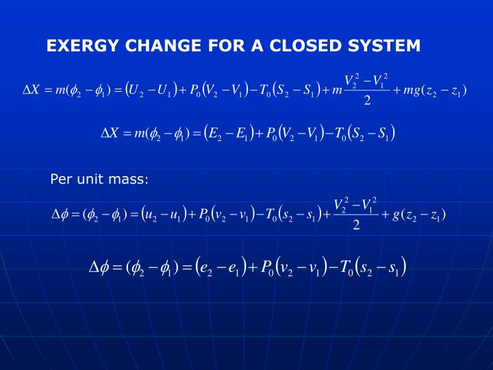 EXERGY CHANGE FOR A CLOSED SYSTEM
