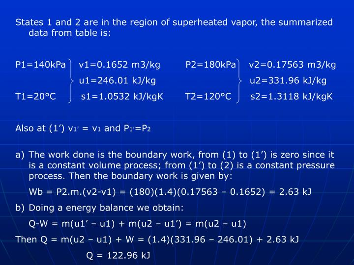 States 1 and 2 are in the region of superheated vapor, the summarized data from table is: