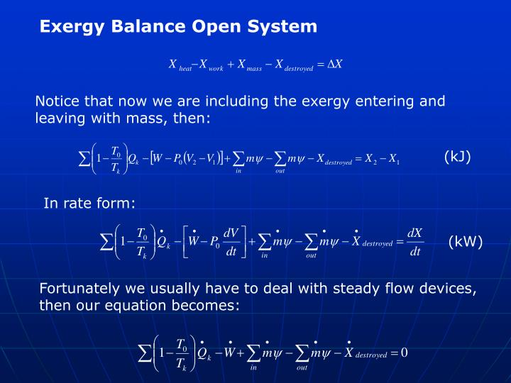 Exergy Balance Open System