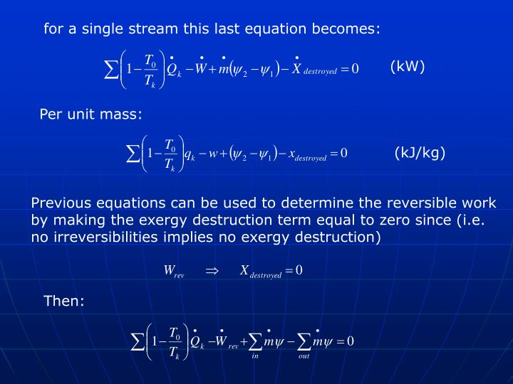 for a single stream this last equation becomes: