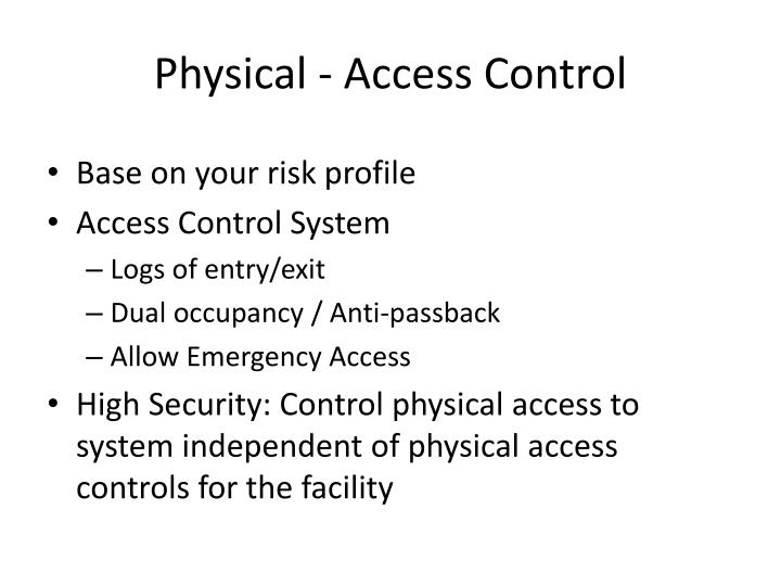 Physical - Access Control