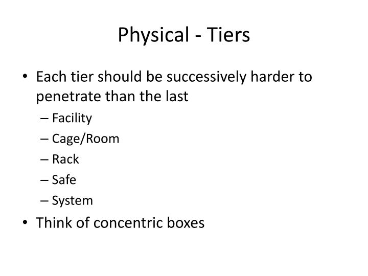 Physical - Tiers