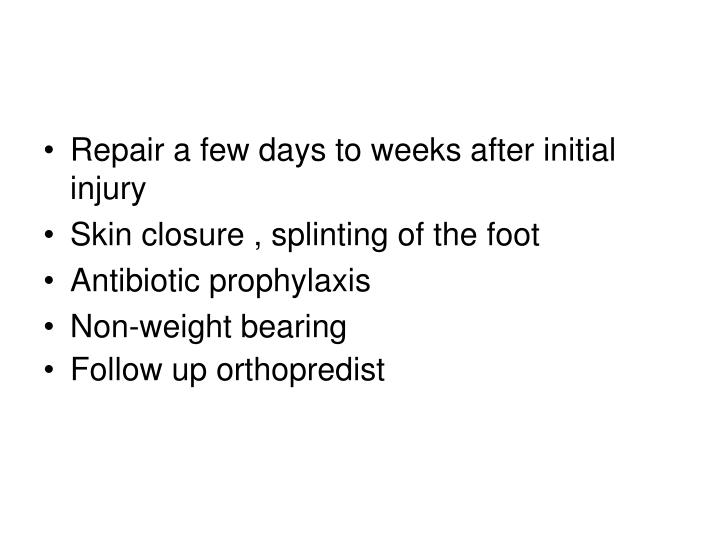 Repair a few days to weeks after initial injury