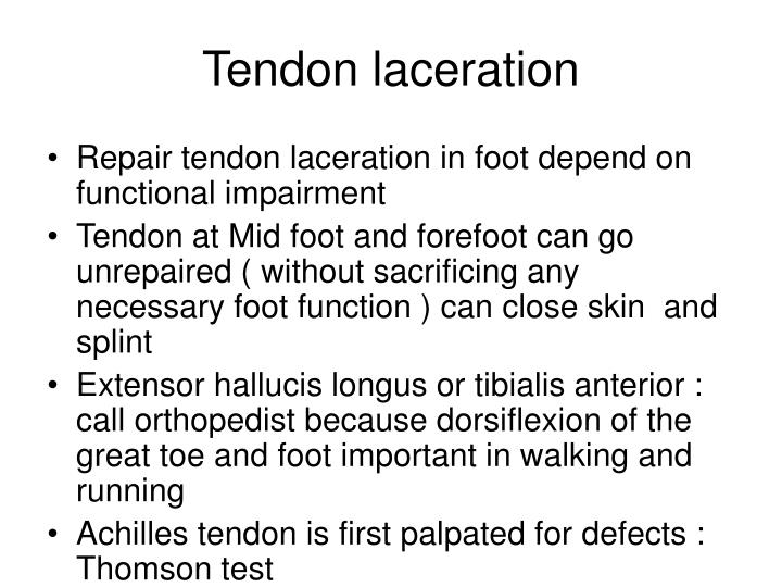 Tendon laceration
