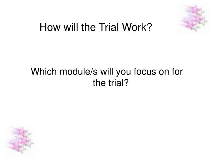 How will the Trial Work?