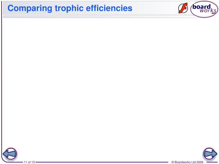 Comparing trophic efficiencies
