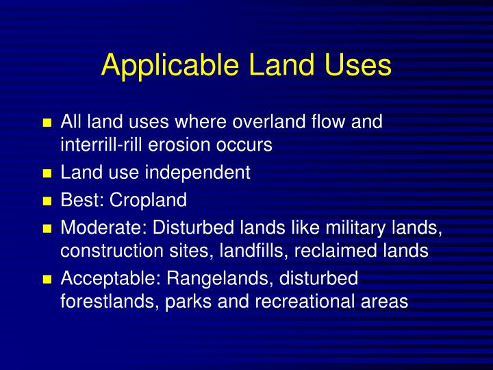 Applicable Land Uses
