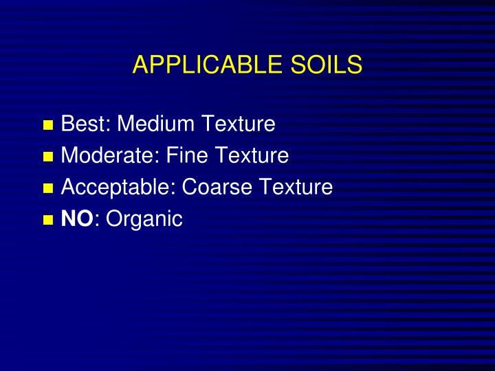 APPLICABLE SOILS