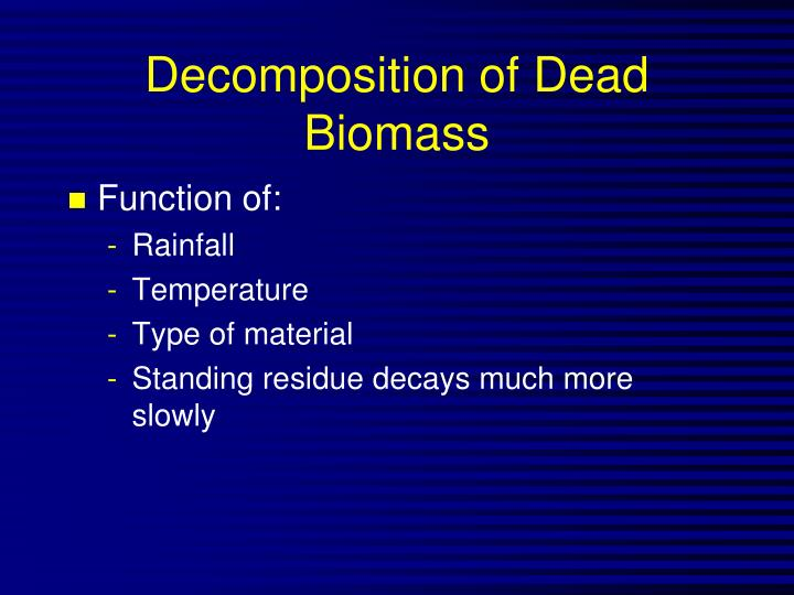 Decomposition of Dead Biomass