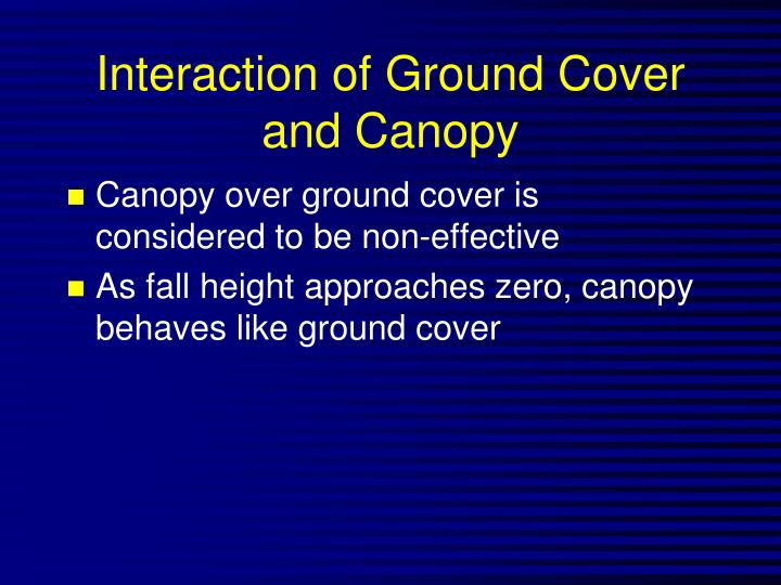 Interaction of Ground Cover and Canopy