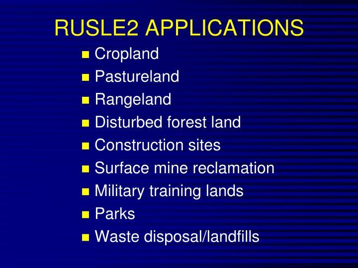 RUSLE2 APPLICATIONS